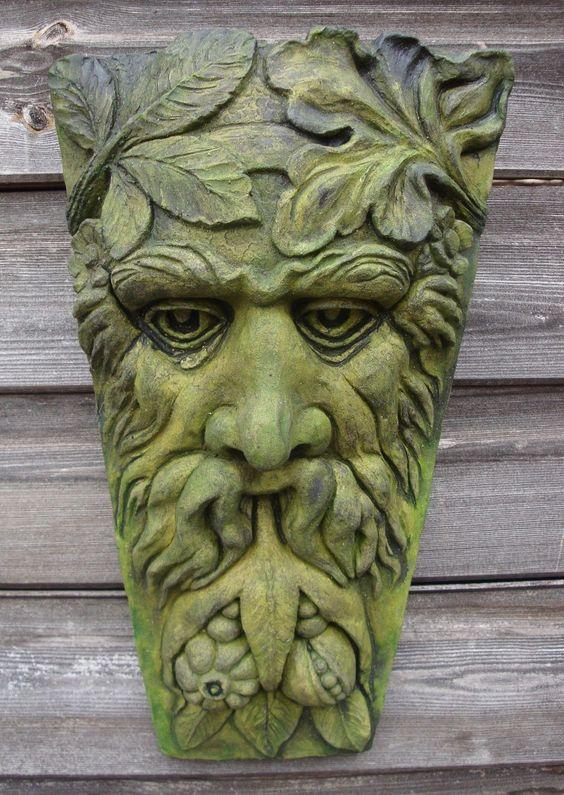 HARVEST GREEN MAN KEYSTONE GREENMAN PAGAN WICCAN WALL PLAQUE GARDEN ORNAMENT uk.picclick.com