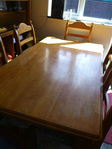 """SOLID PINE FARMHOUSE STYLE TABLE AND 6 CHAIRS 6FT X 3FT 3""""  Item condition:Used  Time left:29m 29s (23 Apr, 201218:10:34 BST)  Current bid:£49.00  [ 11 bids ]      Place bidPlace bid  (Enter £50.00 or more)      Add to Watch list    Postage:Free collection in person       See all delivery details    Item location: Blackburn, United Kingdom    Post to: Local pick up only  Payments:  PayPal   See payment information  Returns:"""