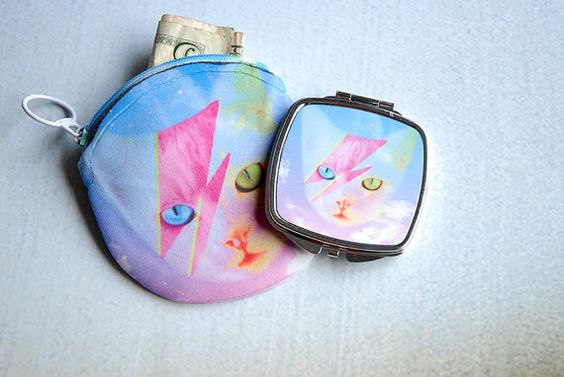 Funky Catsterz David Meowie Mirrored Compact Coin Purse by hhprint