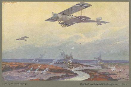 Szenische Darstellungen von Beobachtungsflügen und Flügen mit Kampfauftrag von Flugzeugen und Luftschiffen