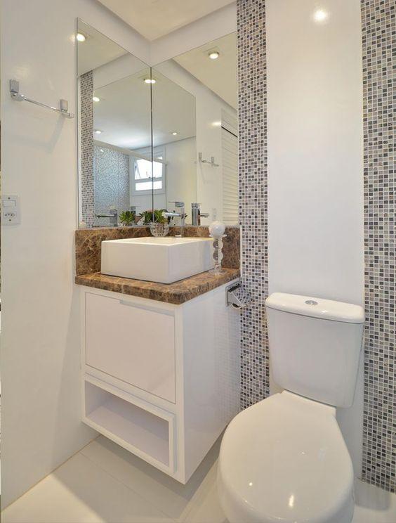 Decoração de banheiros pequenos é a resposta para a falta de espaço  Google -> Banheiro Planejado Pequeno