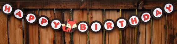 Cute fox banner for Woodland party