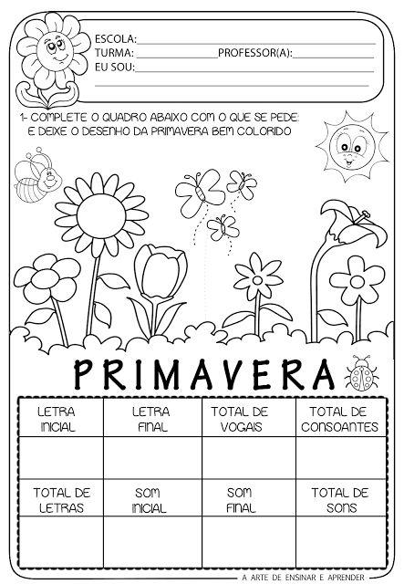 flores no jardim letra:Arte de Ensinar e Aprender: atividades primavera