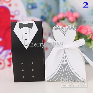 Wholesale White Wedding - Buy 5 Design Choose White Wedding Gown And Black Suit Candy Boxes Wedding Favors Favor Holders , $0.24 | DHgate