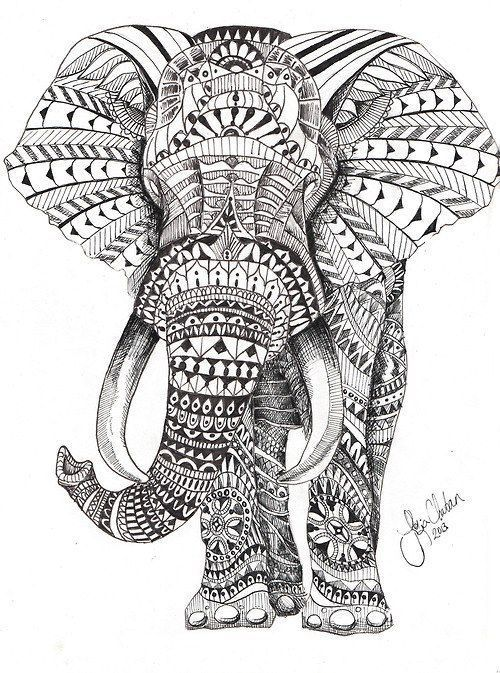 elephant coloring pages for adults - Google Search Mehr