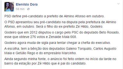 RN POLITICA EM DIA: ALMINO AFONSO: EX-CANDIDATO A VEREADOR DIZ EM REDE...