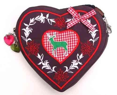 Dirndl Corazón bolsa Marrón / rojo / ciervos - feel-good price-shop porción GKR