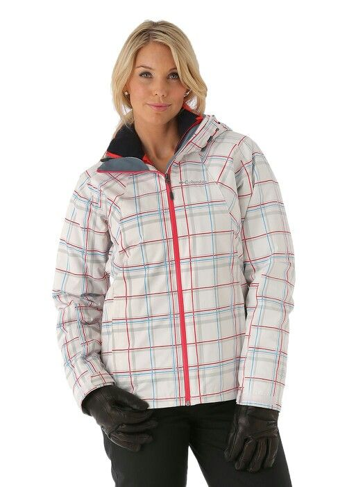 Shelley in white plaid pattern with lights pink & blue.