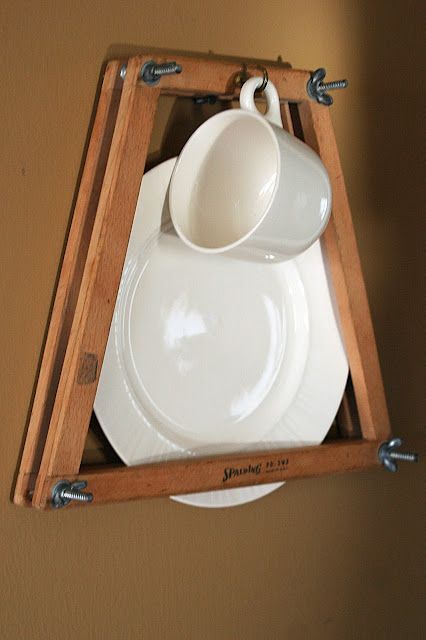 Plate and cup display from a tennis racket press.