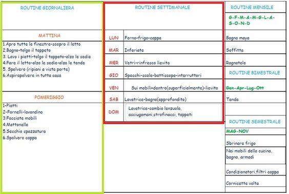 routine settimanale, free printable, stampabile, schema, organizzazione casa immagine.jpg (768×516) https://stefanialand.wordpress.com/2015/01/12/la-mia-routine-settimanale/