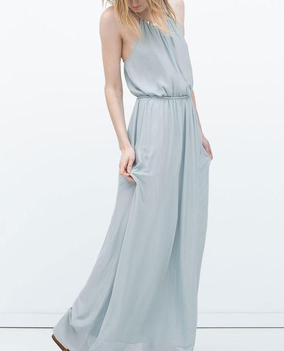 ZARA - WOMAN - LONG DRESS WITH APPLIQUÉ NECKLINE for weddings