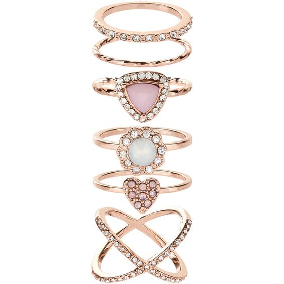 Accessorize Pretty Rose Gold Styling Ring Set ($23) ❤ liked on Polyvore featuring jewelry, rings, red gold ring, mid knuckle rings, rose gold midi ring, top finger rings and midi rings jewelry