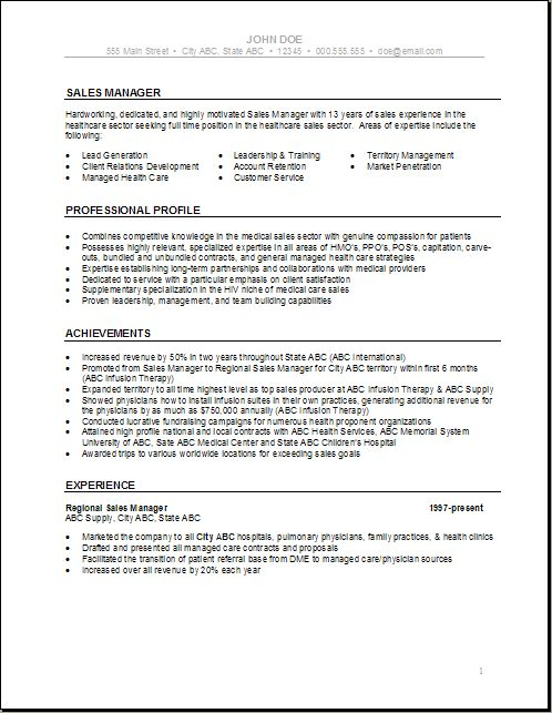 Health Care Resume Templates | Sales Manager Health Care Resume ...