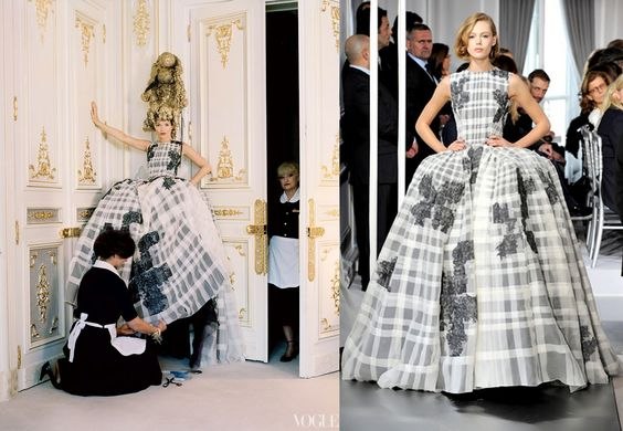 Frills and Thrills: Kate Moss 'Checks Out' in Couture for Vogue