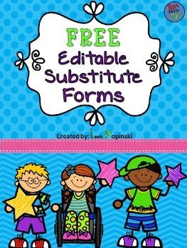 I never seem to have everything together that I need for a sub. I'm so glad I found this. It's super cute, free, and completely editable. Terrific!