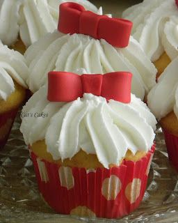 Red and white polka dot cupcakes from Cat's Cakes
