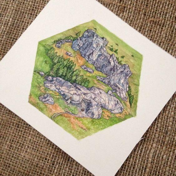 Die Siedler von Catan Brettspiels Kunst - Berge Hex Concept Artwork für Erz - Einmaliges Geschenk für Catan-fan