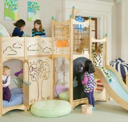 Kinderhochbett  kinderhochbett-design-rutsche-ziegelwand | kinderzimmer | Pinterest