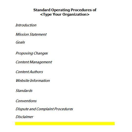 Sop Templates   Work    Standard Operating Procedure