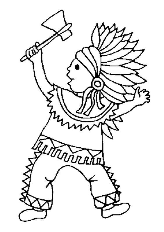 Dessin colorier d un petit gar on d guis en indien et - Dessin petit garcon ...