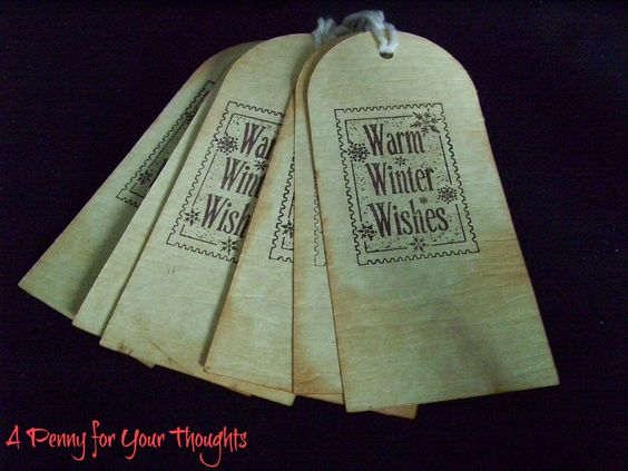 Warm Winter Wishes Christmas Gift Tag Set of Six
