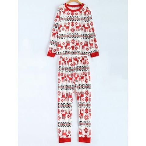 """Christmas Deer Print T-Shirt and Pants Set. Colors: White. Size: S, M, L. SKU: Y0ODGXPTG03 Price: US$31.12 | PKR 3299… #Vivoren #Fashion"