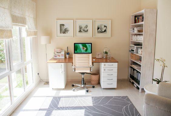 DIY Office desk using IKEA kitchen components www.houseofhawkes.net
