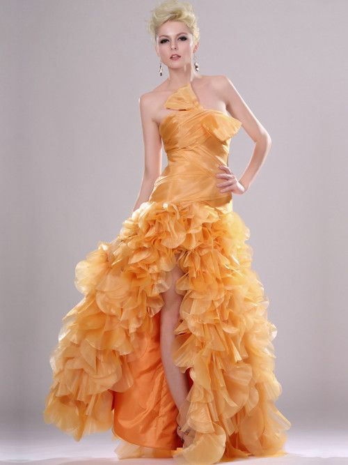 Bow Detailed Strapless Ruffle Tiered Evening Dress with Side Split  #ShopSimple