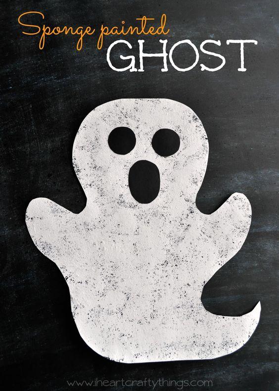 Halloween Sponge Painted Ghost Craft | For kids, Simple ...