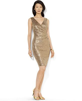 Lauren Ralph Lauren Sleeveless Sequined Party Dress - Sale ...