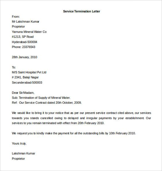 Employment Termination Letter Template  MayotteOccasionsCo