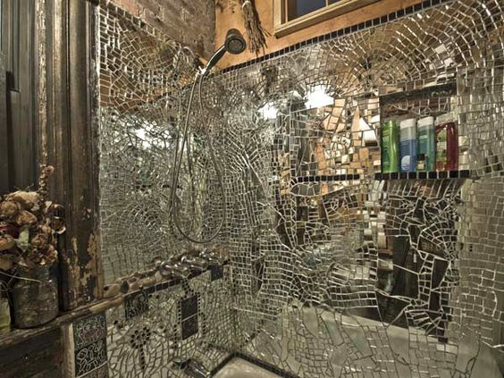 Broken Mirror Shower Mosaic Ideas Pinterest Mosaics