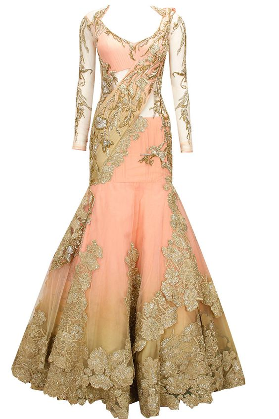Peachy pink embroidered lehenga sari available only at Pernia's Pop-Up Shop.