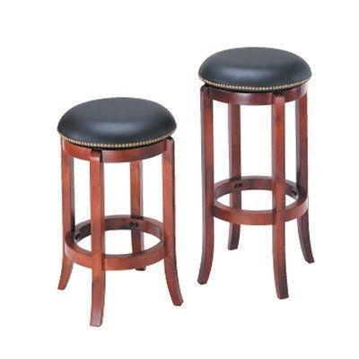 Adf 24 Inch Swivel Bar Stool With Nailhead Trim Cherry By