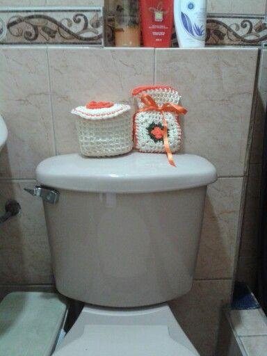 Accesorios De Baño A Crochet:Accesorio de baño tejido a crochet para cubrir 1 papel higienico y