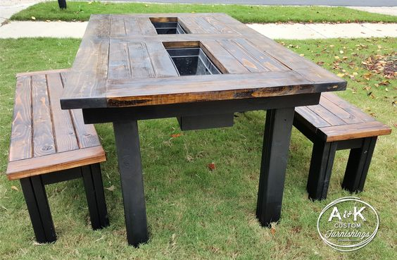 Outdoor patio table with built in coolers benches to Picnic table with cooler plans