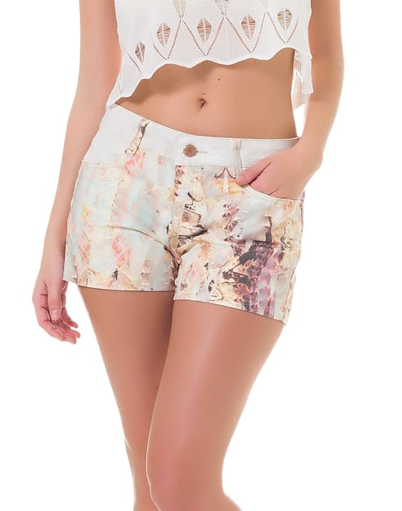 Shorts Ibiza Jeans Estampado Branco - Lez a Lez
