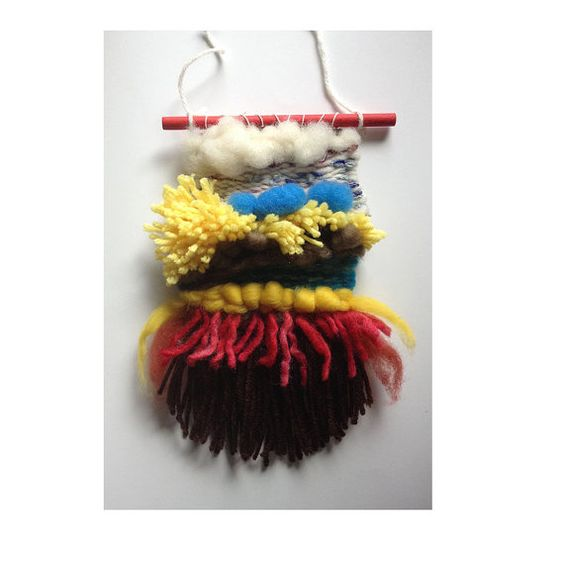 Small Woven wall hanging red yellow blue weaving by PamCarrArtist
