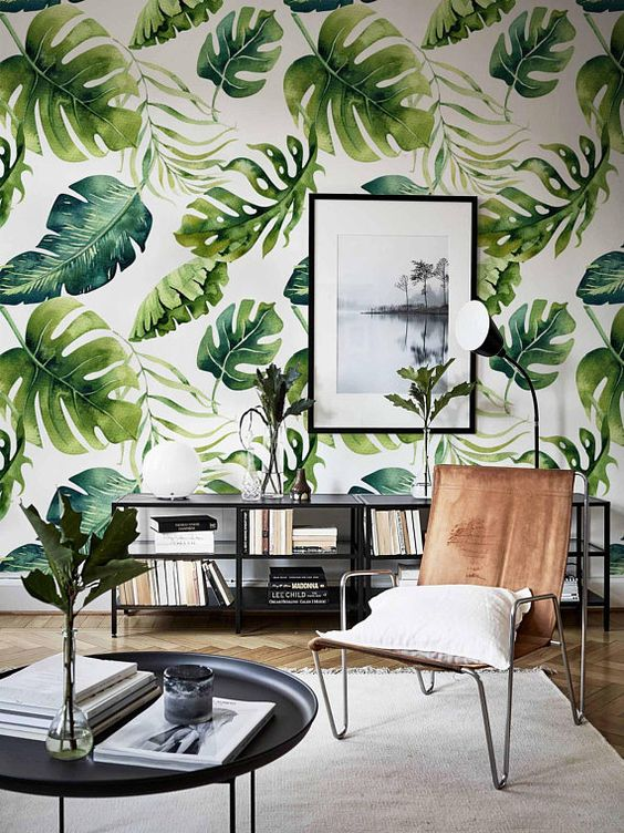 Papier peint amovible Feuilles vertes exotiques papier