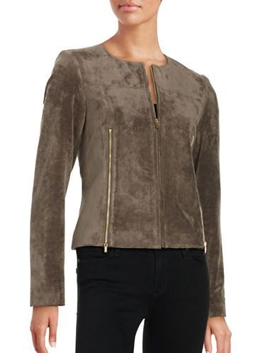 Calvin Klein Faux Suede Moto Jacket Women's Heather Taupe 6
