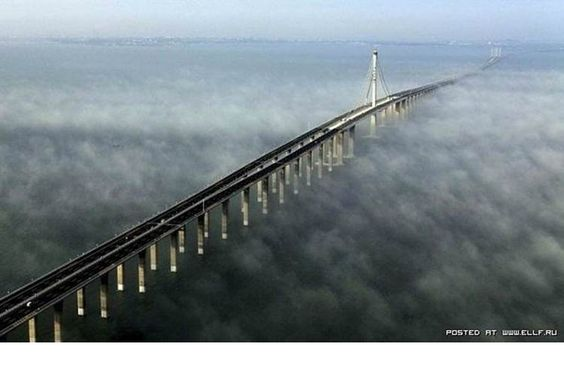 In the Chinese province of Shandong is  a bridge across the Gulf of Jiaozhou . The bridge length  over 36 km is calculated for eight car lanes, and is the  longest sea bridge in the world.