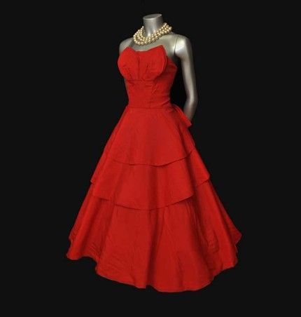 Red dress vintage style dress