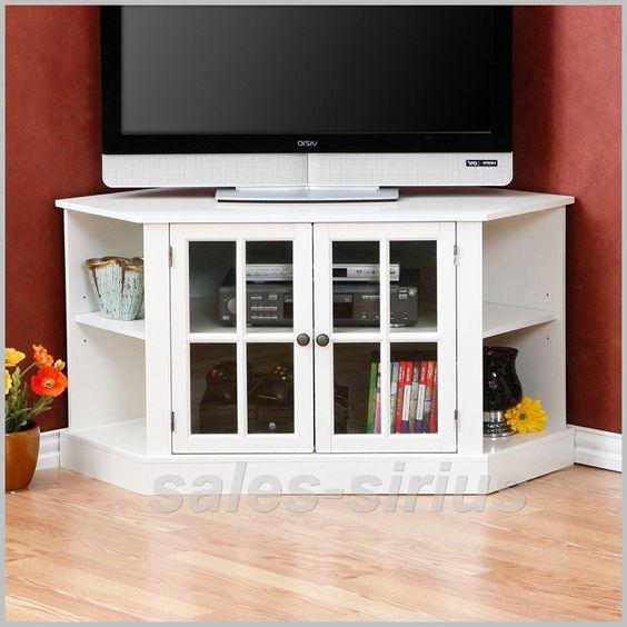 White TV Corner Unit Stand Cabinet Television Wooden Media Storage Flat Screen