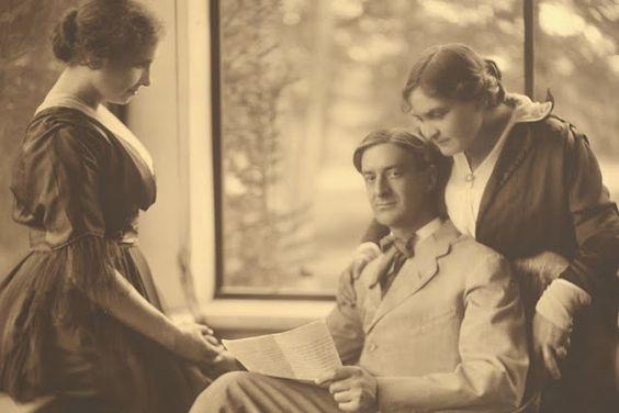 Helen, Anne, and Anne's husband, John Macy at their home in Wrentham: