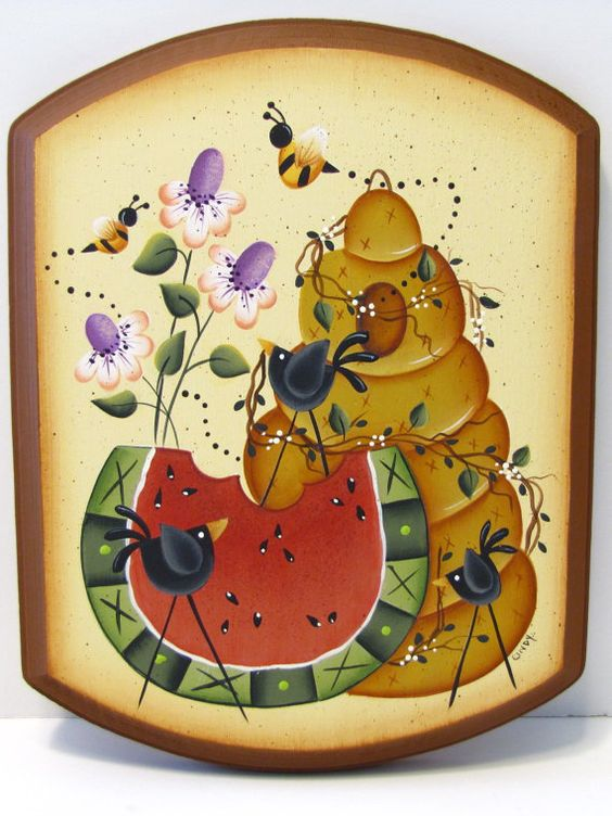 Watermelon, Bee Hive, Flowers, Crow, Handpainted Wood, Wall Art. $14,95, via Etsy.