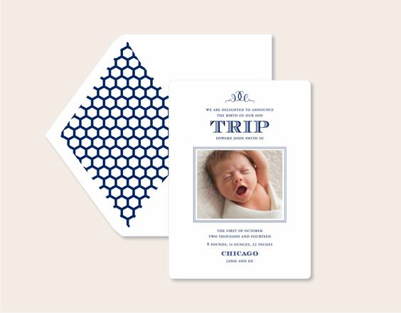 Modern navy hexagon liners make this letterpress baby boy announcement just perfect! Letterpress Birth Announcements by PostScriptPaper on Etsy http://www.etsy.com/listing/177870460/letterpress-birth-announcements