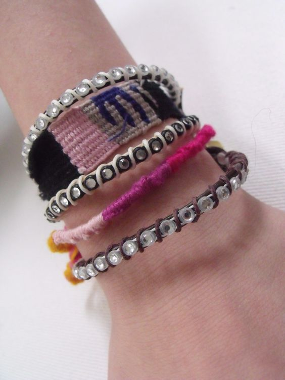 Crystal chain bracelet.  Hex nut bracelet.