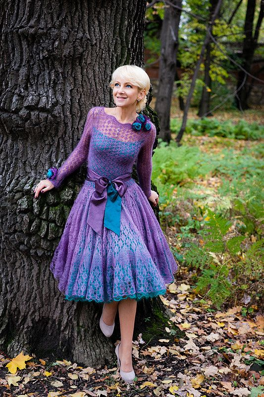 Hand knitted festive dress by Rasa Velverienes Knitwear0and0lace shop, f...