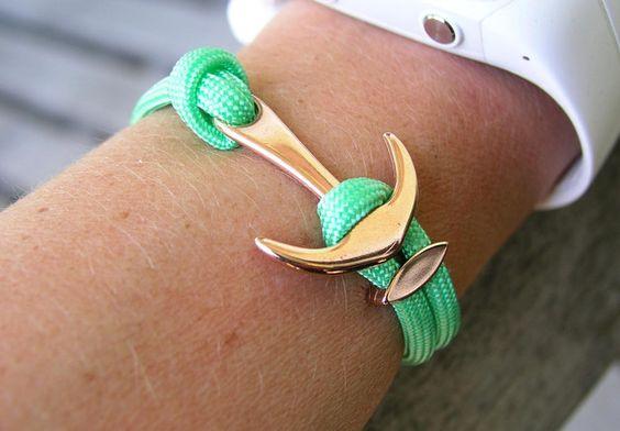 Armband aus Seil in Mint mit großem Anker in Roségold für Dein Sommer Outfit / summery bracelet made of rope with golden anchor made by Schmuckkistl via DaWanda.com