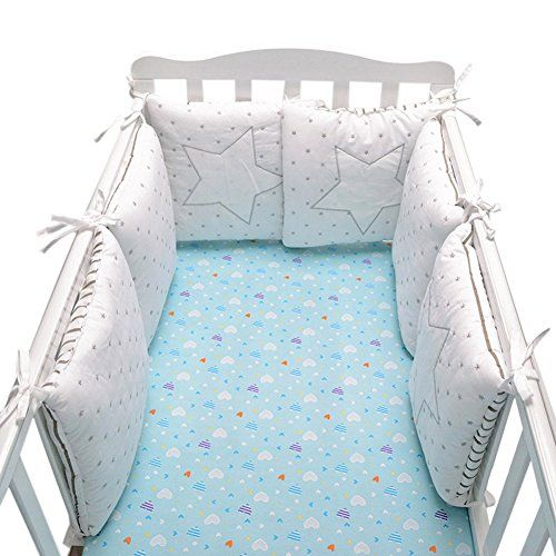 Baby Infant Crib Bumper Pads Bed Cotton Safety Rail Guard Breathable Cradle Protector Cot Sleep Bumper Pillow Machine Wash Baby Cot Bumper Baby Bed Baby Cot